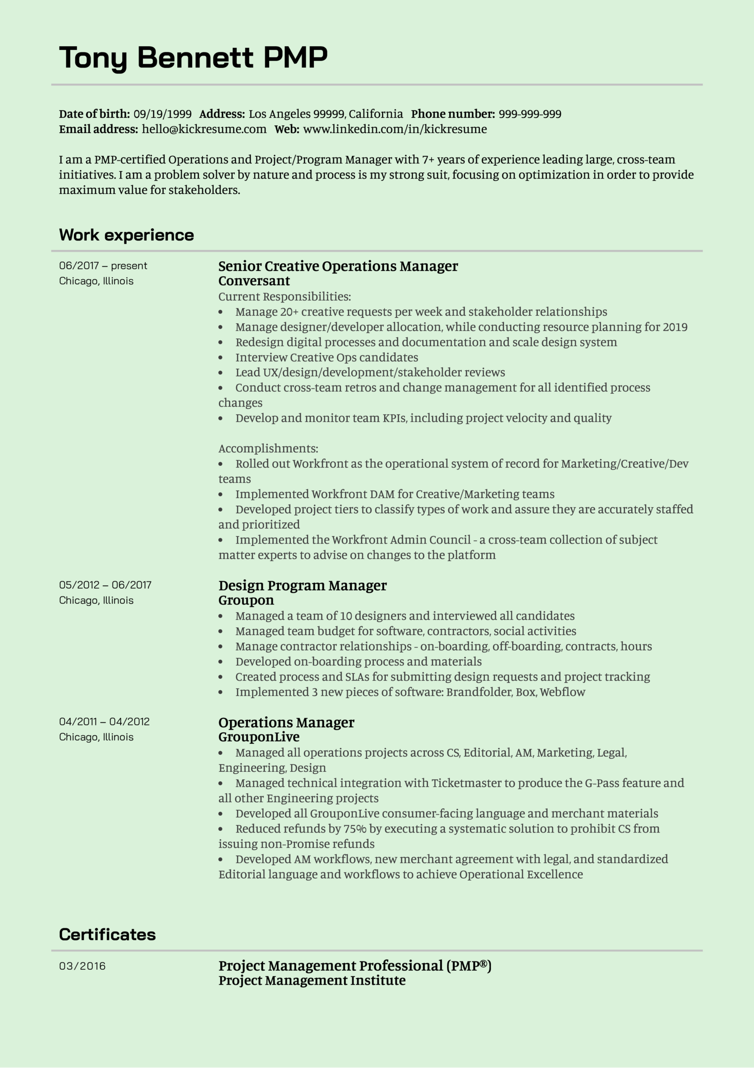 Senior Creative Operations Manager CV Example (Part 1)