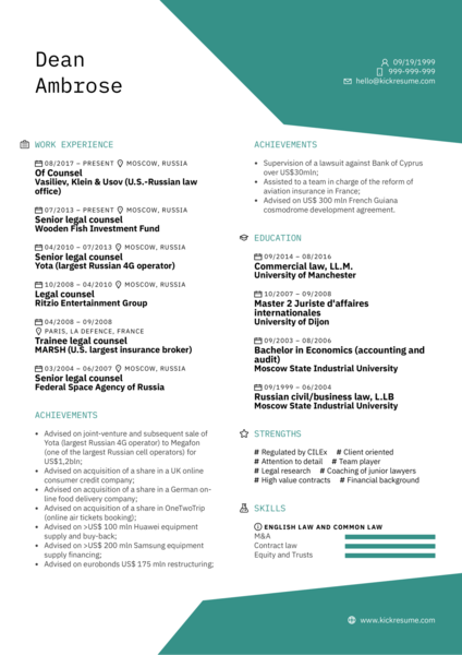 Legal Counsel Resume Sample