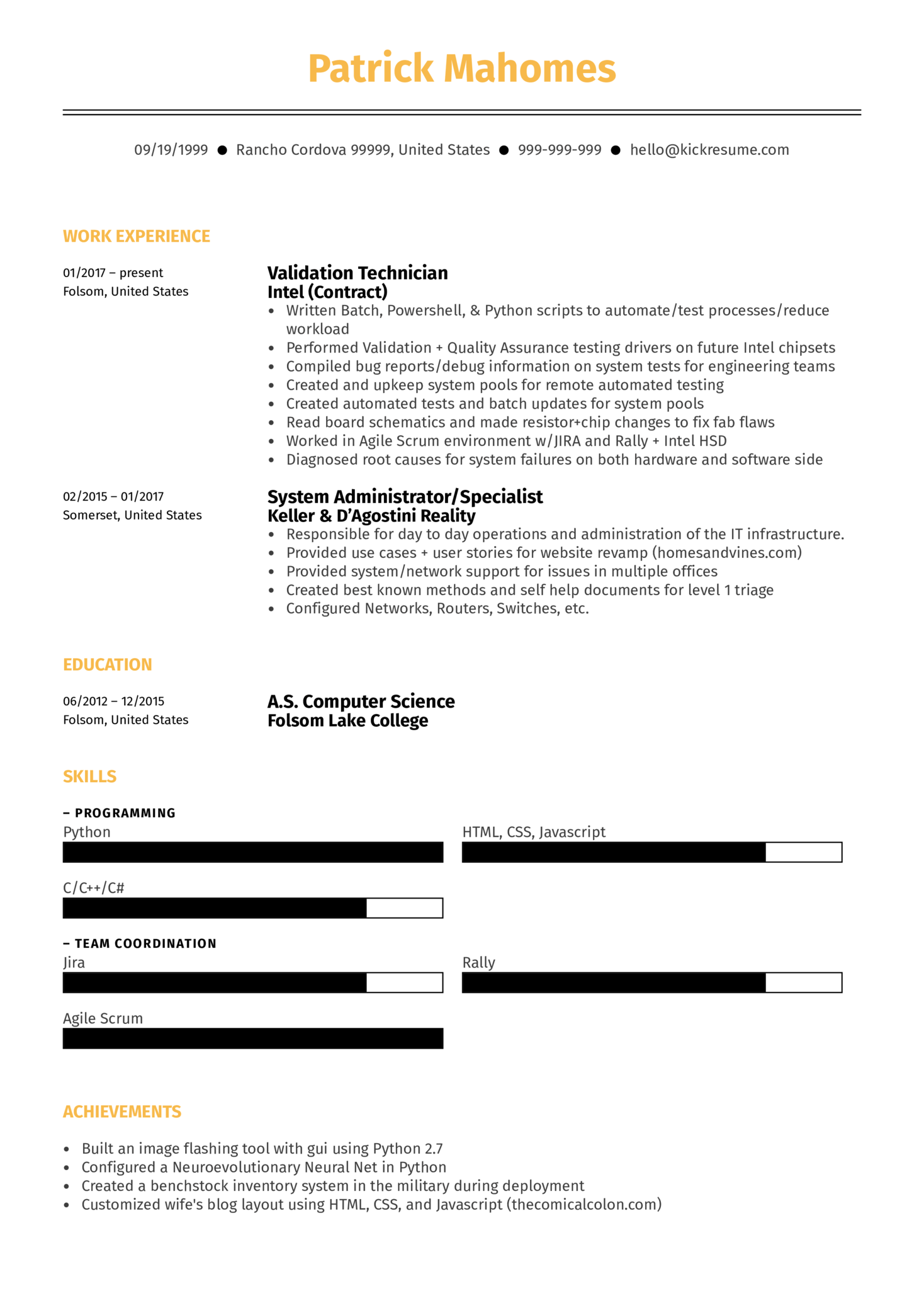 Systems Engineer Resume Sample (Part 1)