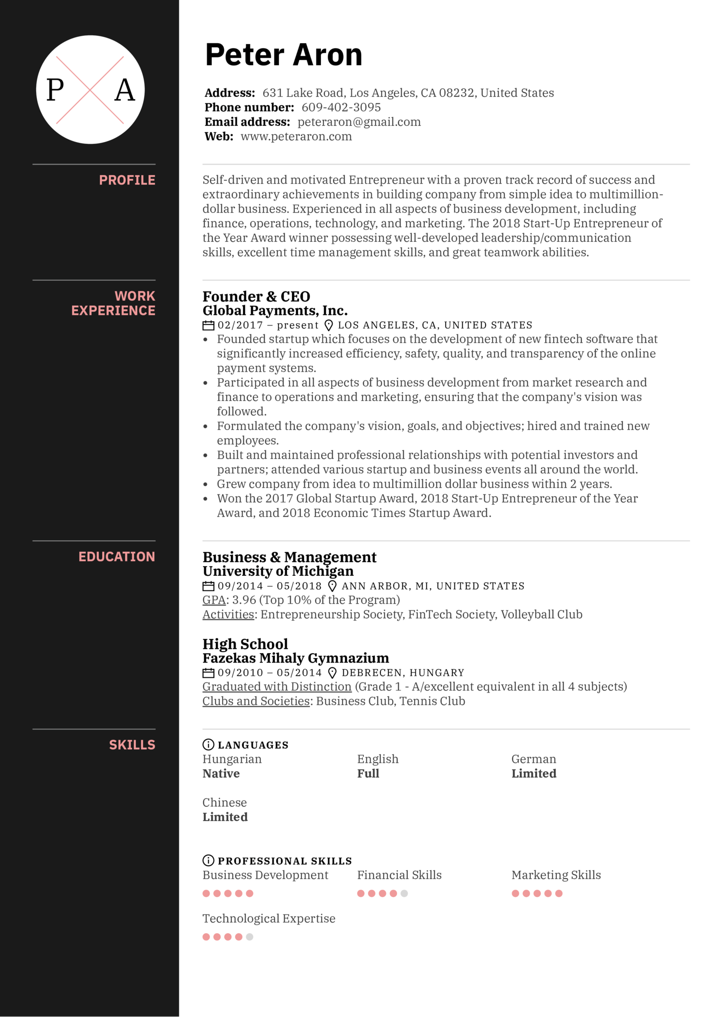 Founder Resume Example (Parte 1)