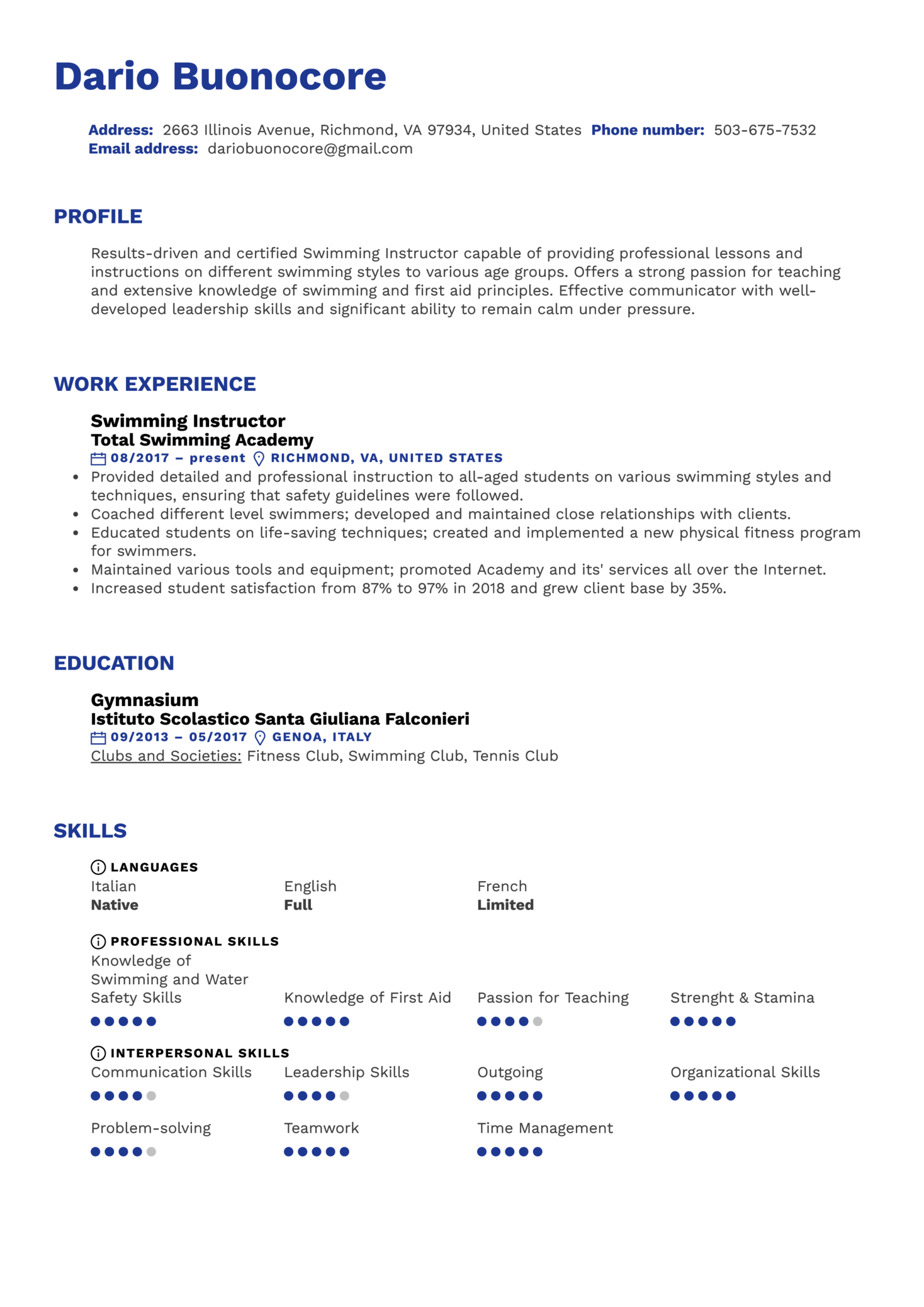 Swimming Instructor Resume Sample (parte 1)
