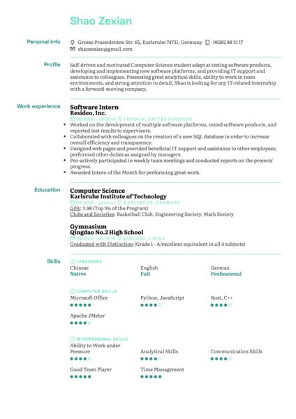 Software Intern Resume Template