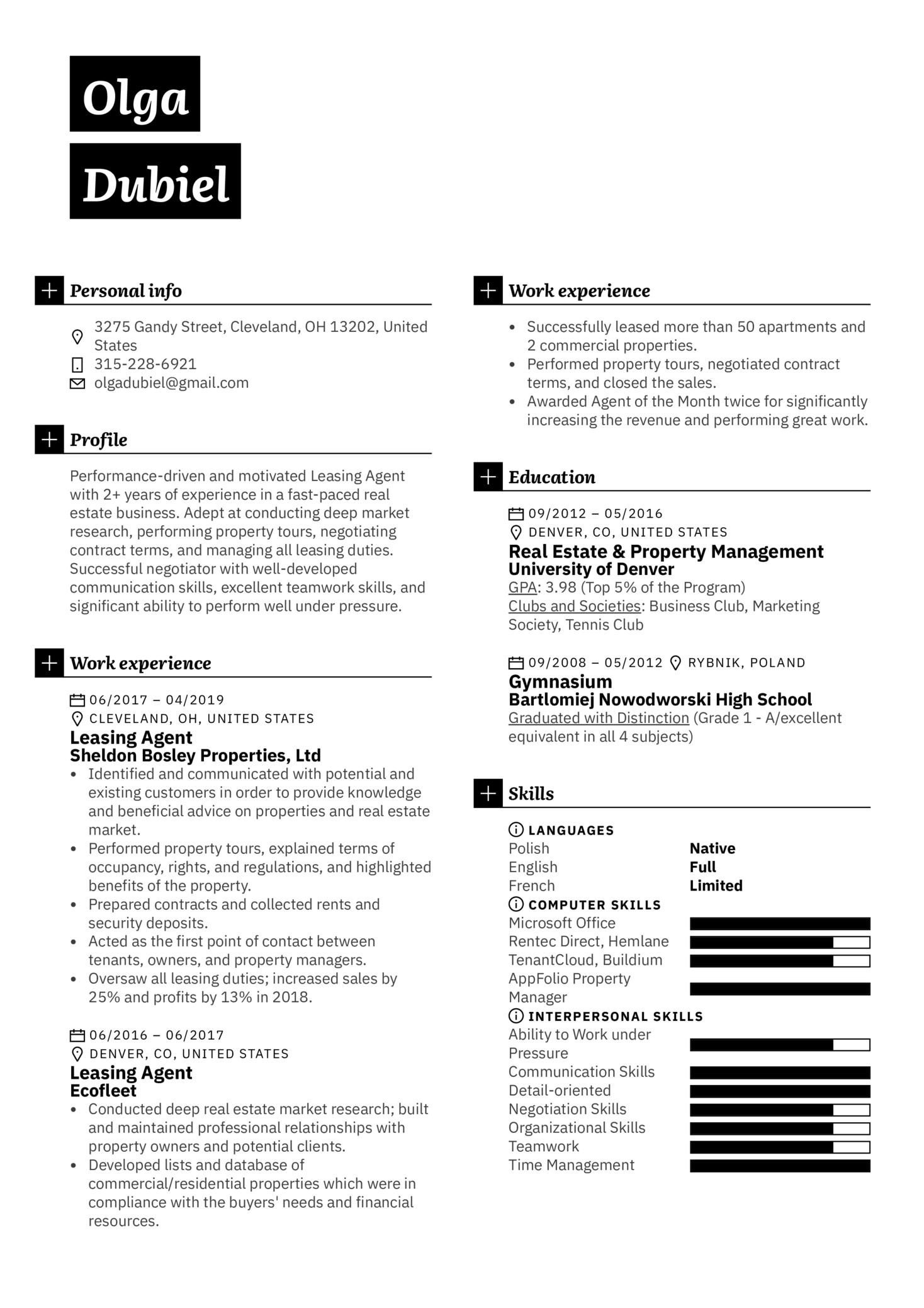 Leasing Agent Resume Sample (Part 1)