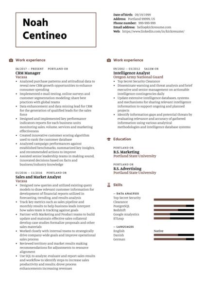 Data Analyst at Vacasa Resume Sample