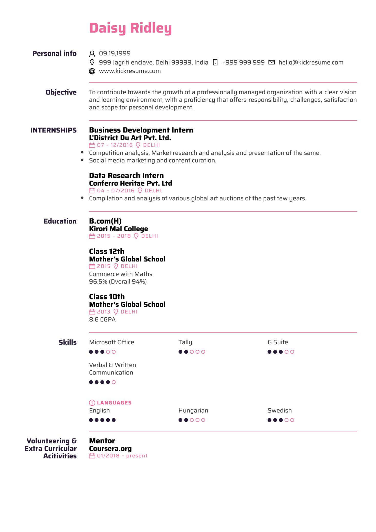 EY Junior Assurance Associate Resume Sample (Teil 1)