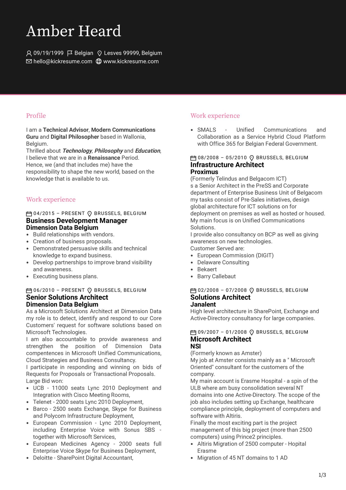 Experienced Business Development Manager CV Sample (Part 1)