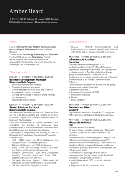 Experienced Business Development Manager CV Sample