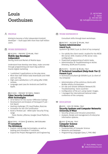 Mobile Software Engineer Resume Example