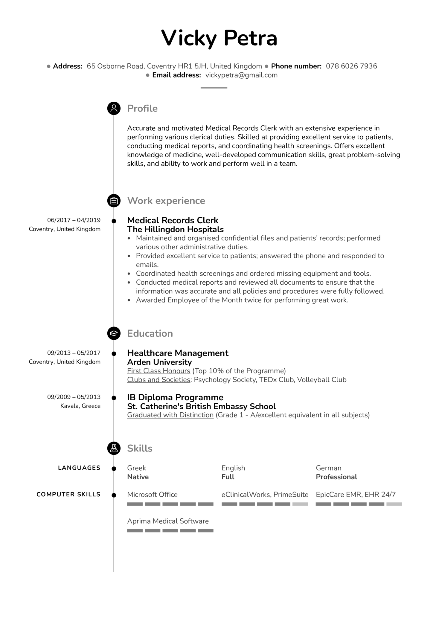 Medical Records Clerk Resume Example (Part 1)