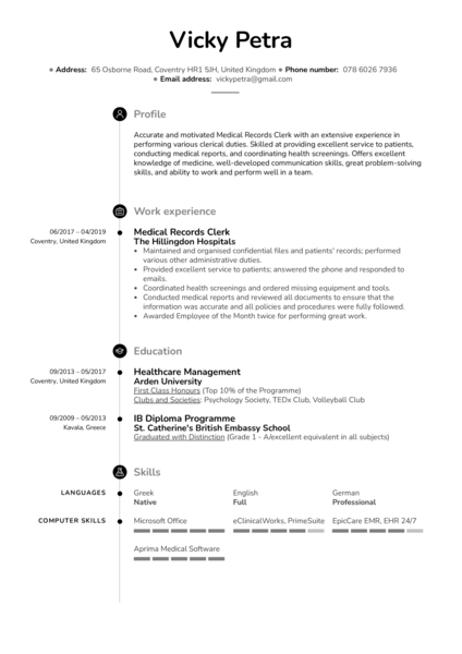 Medical Records Clerk Resume Example