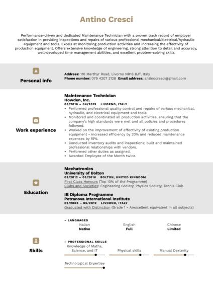 Maintenance Technician Resume Example