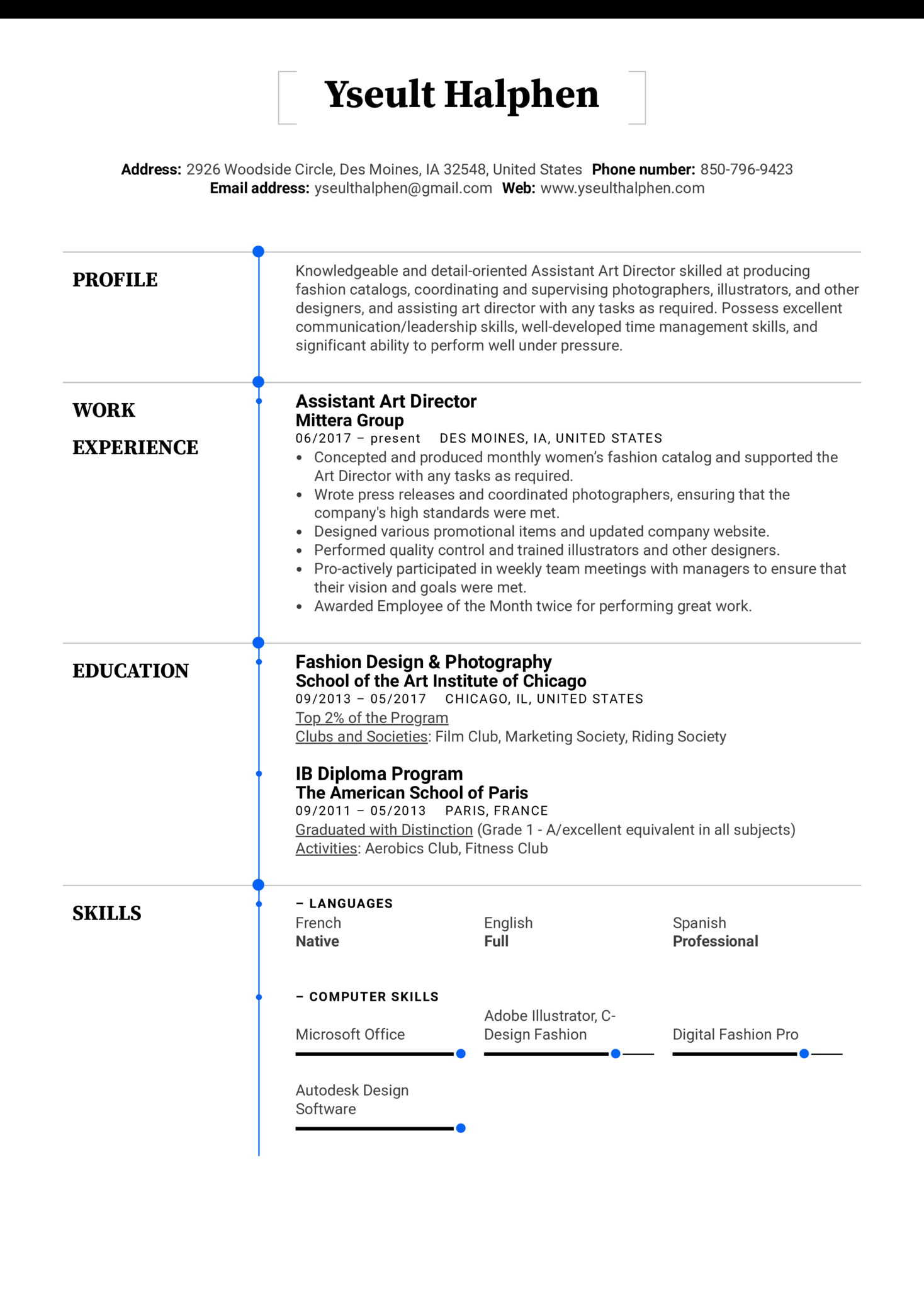 Assistant Art Director Resume Example (Part 1)