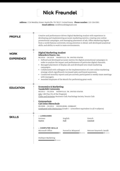 Digital Marketing Analyst Resume Sample