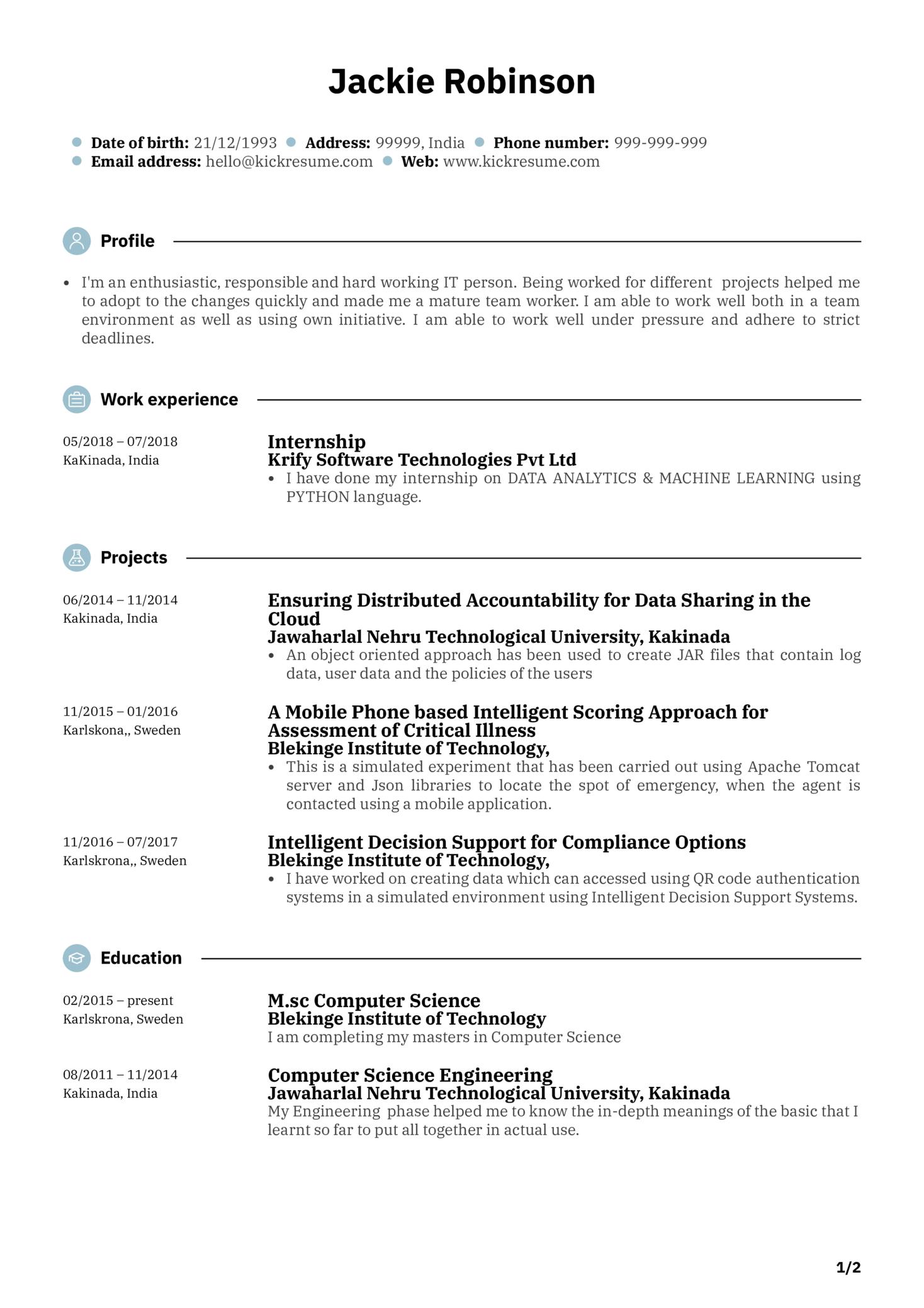 Junior Software Engineer Resume Sample (parte 1)