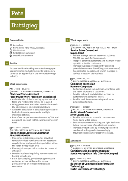Electrical Assistant CV Example