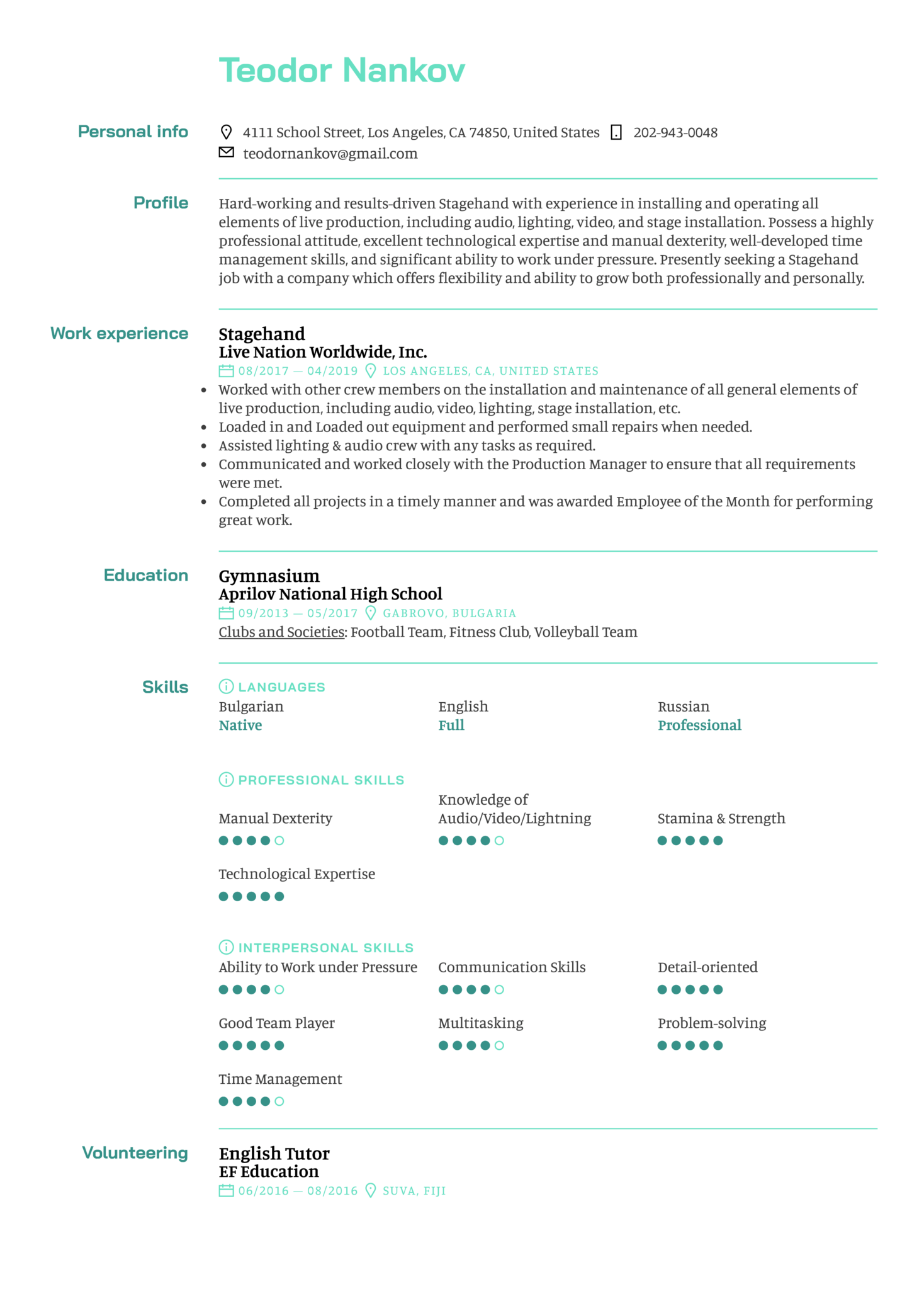 Stagehand Resume Sample (Part 1)