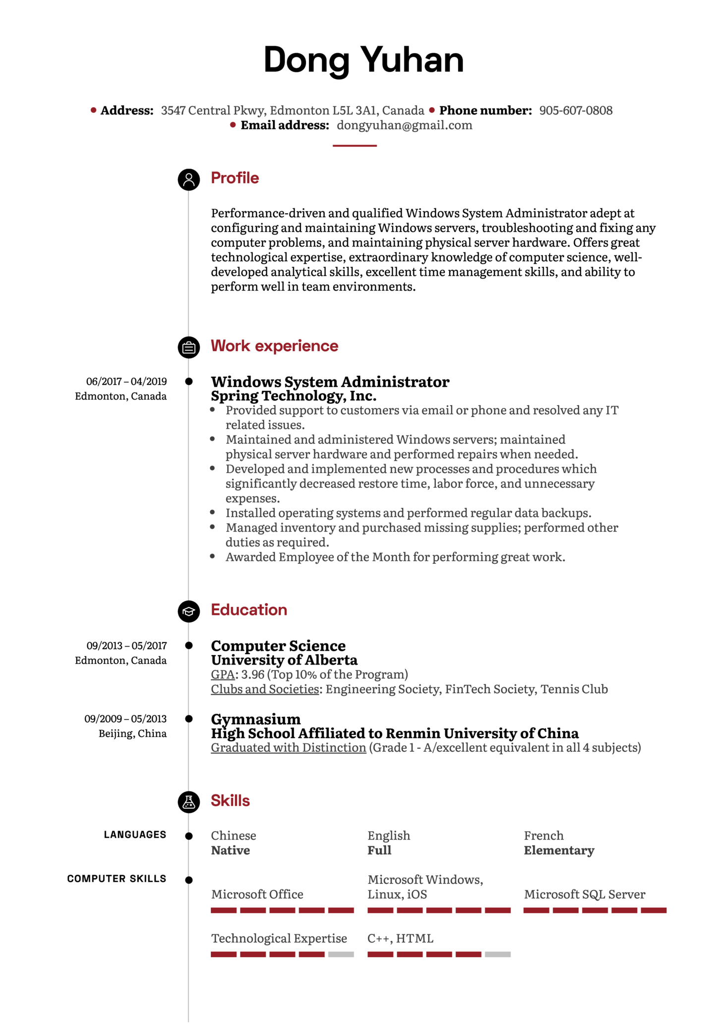 Windows System Administrator Resume Sample (parte 1)