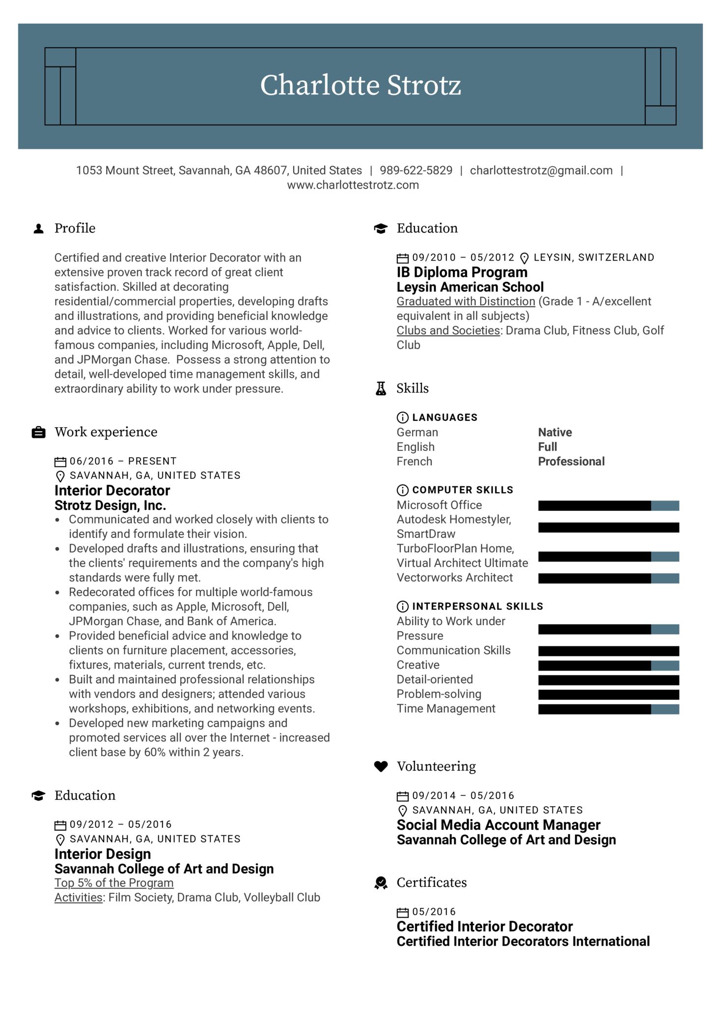 Interior Decorator Resume Example (Teil 1)