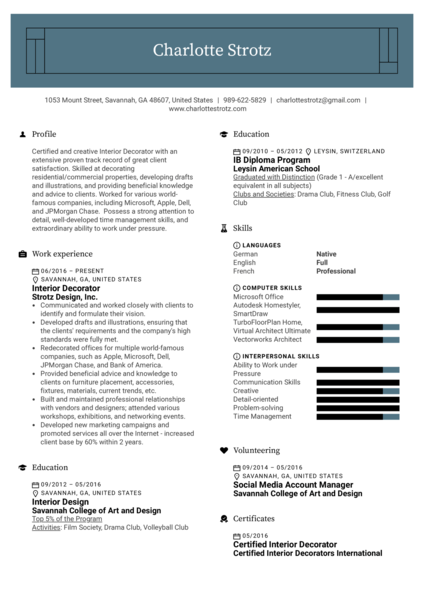 Interior Decorator Resume Example