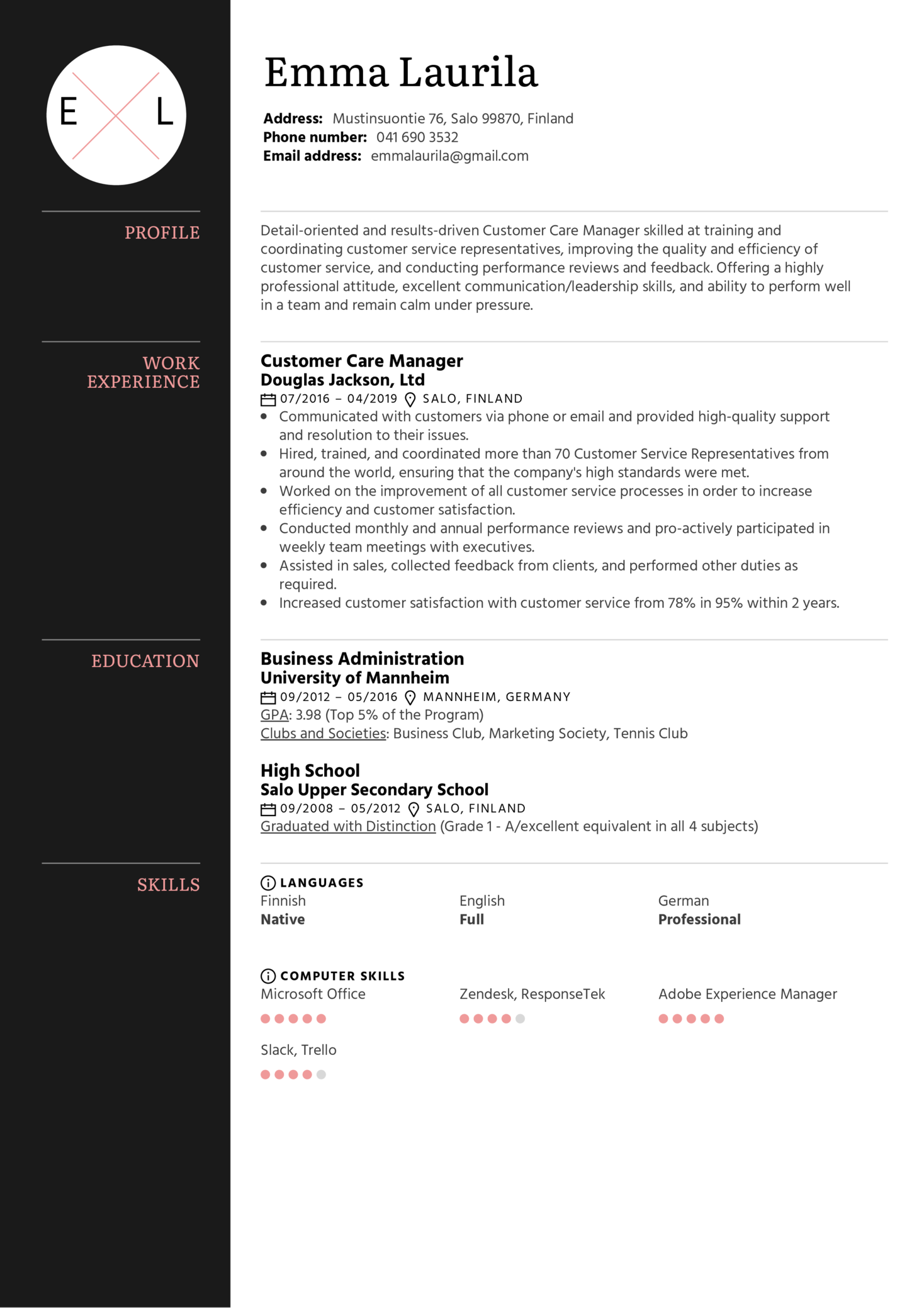 Customer Care Manager Resume Sample (Part 1)