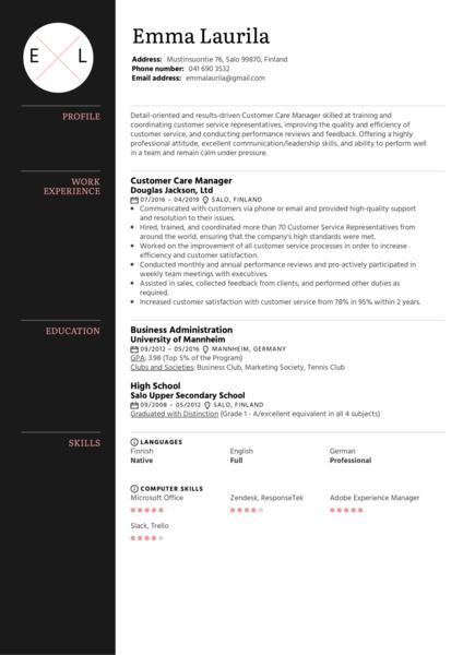 Customer Care Manager Resume Sample