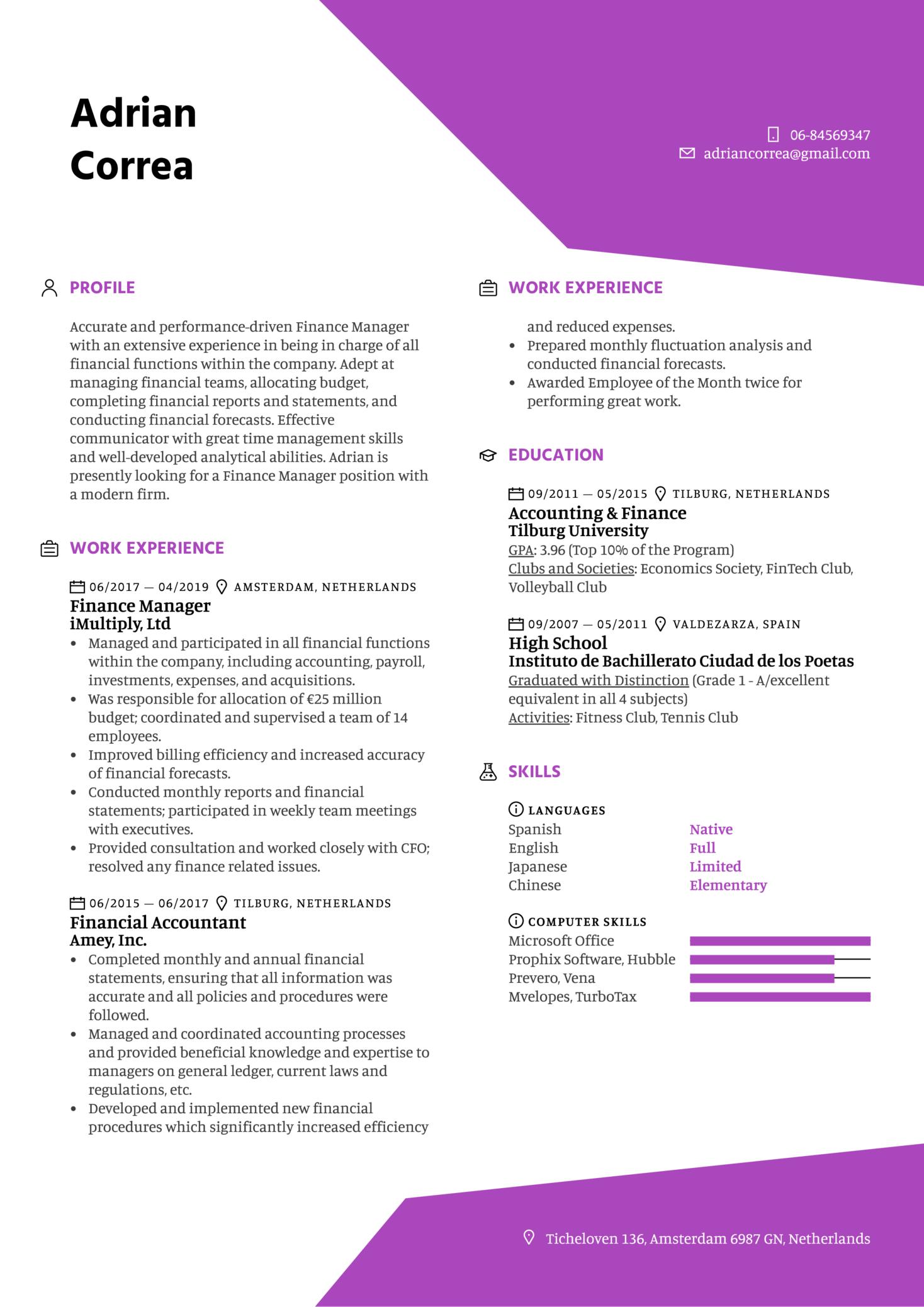 Finance Manager Resume Sample (Parte 1)