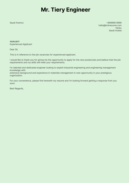 Saudi Aramco Process Engineer Cover Letter Sample