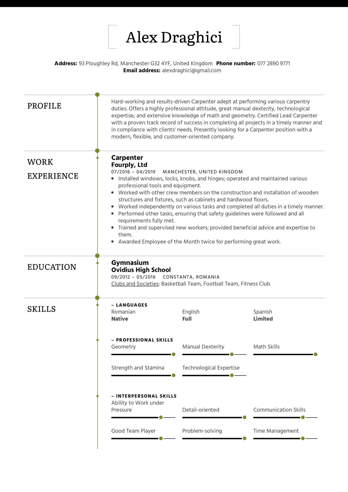 Carpenter Resume Example (Part 1)