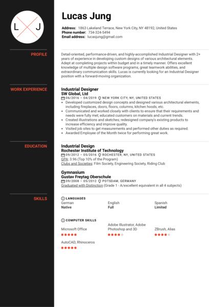 Industrial Designer Resume Example