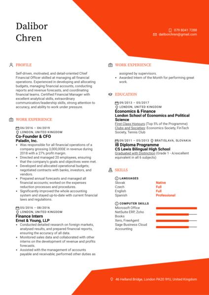 CFO Resume Example