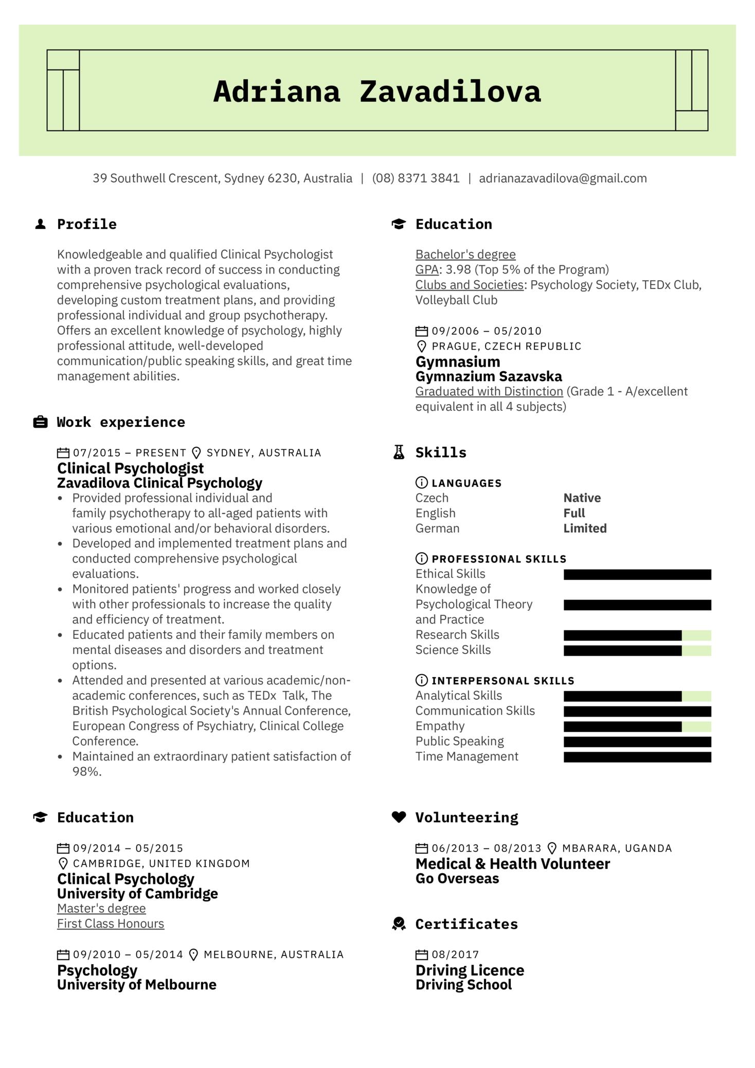 Psychologist Resume Sample (Part 1)