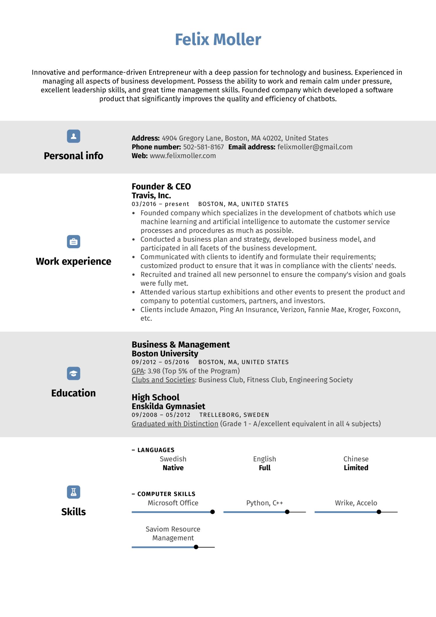 Entrepreneur Resume Sample (časť 1)