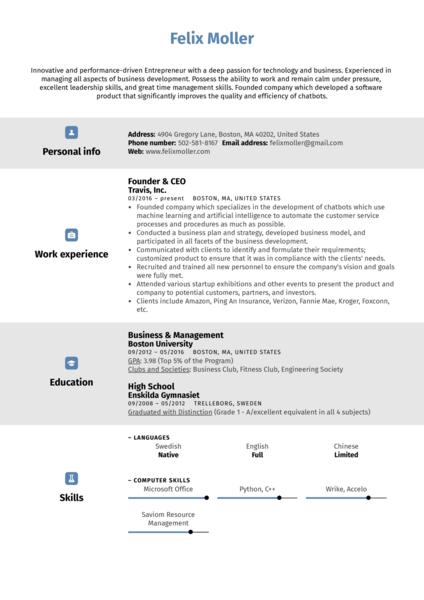 Entrepreneur Resume Sample