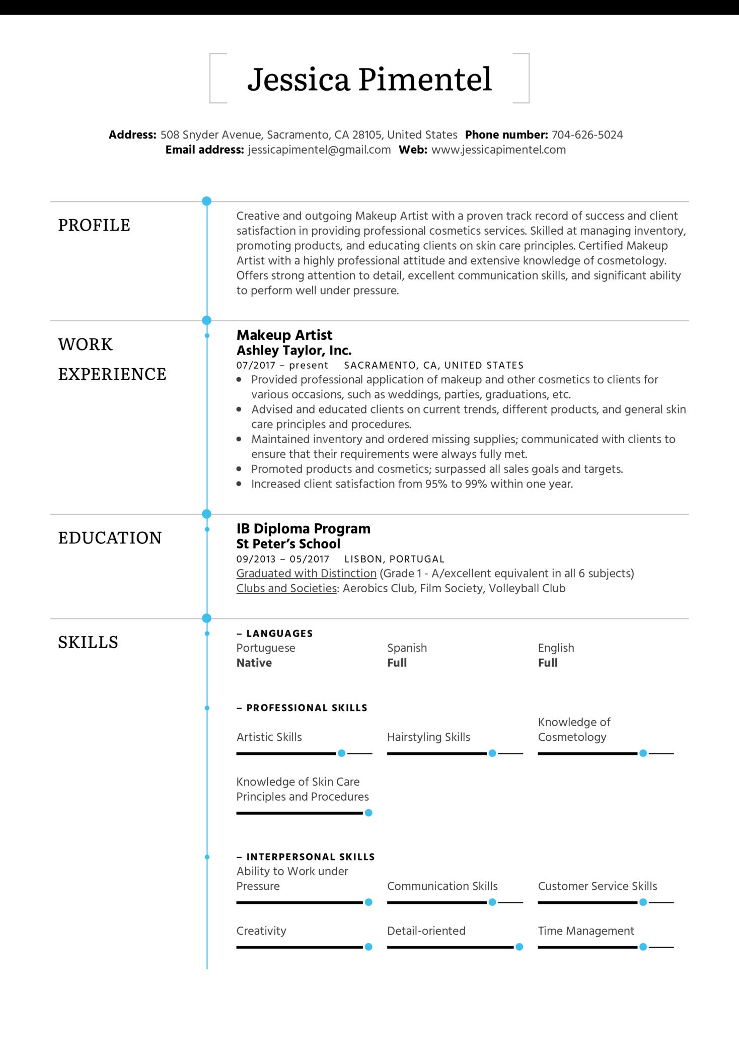 Makeup Artist Resume Sample (Part 1)