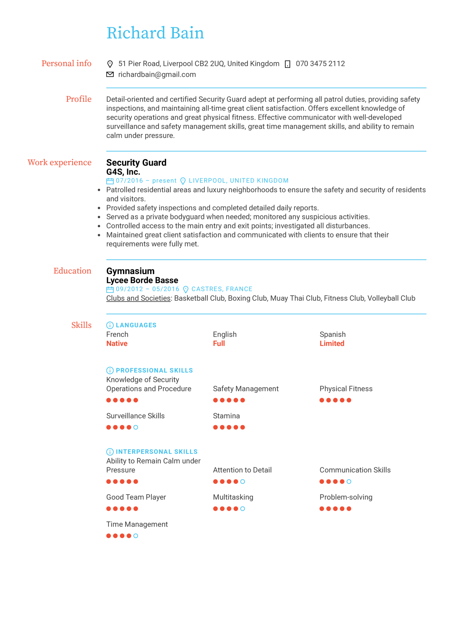 Security Guard Resume Example (časť 1)