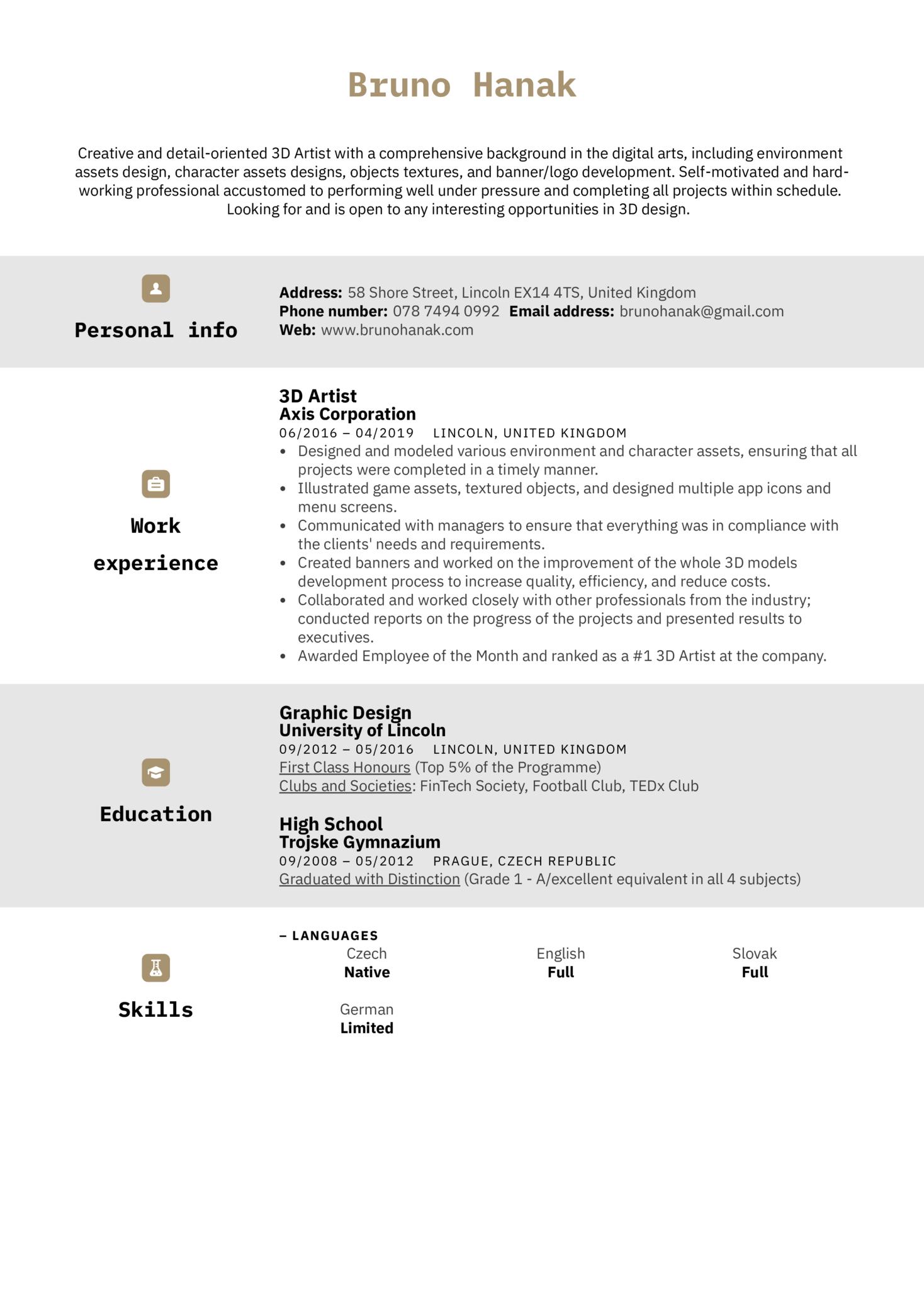 3D Artist Resume Sample (parte 1)