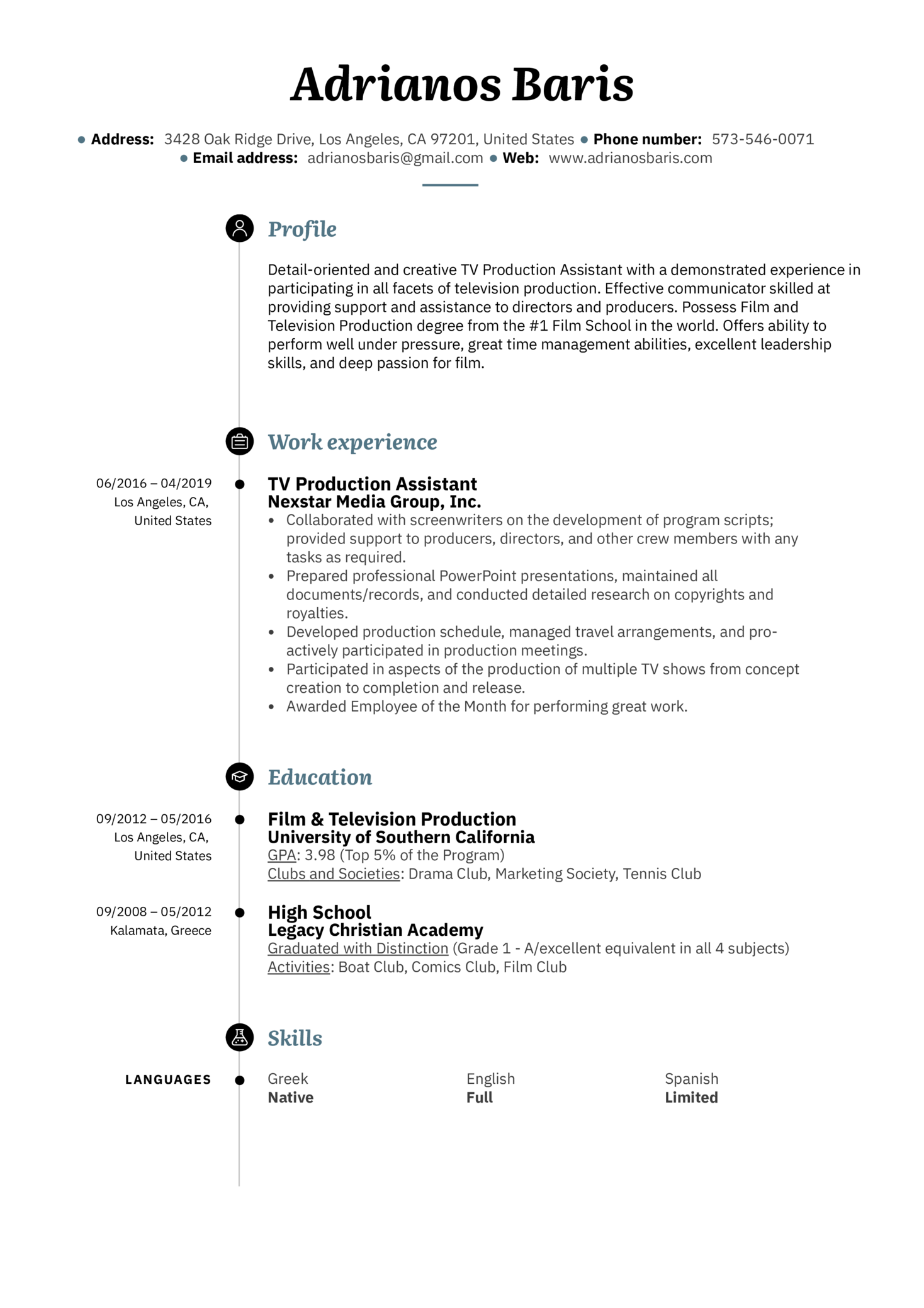TV Production Assistant Resume Example (parte 1)