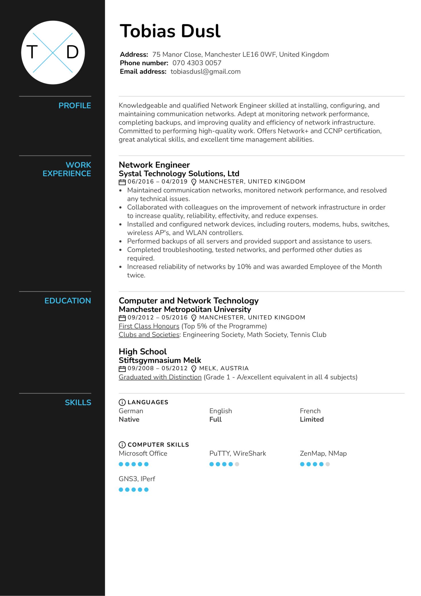 Network Engineer Resume Sample (časť 1)