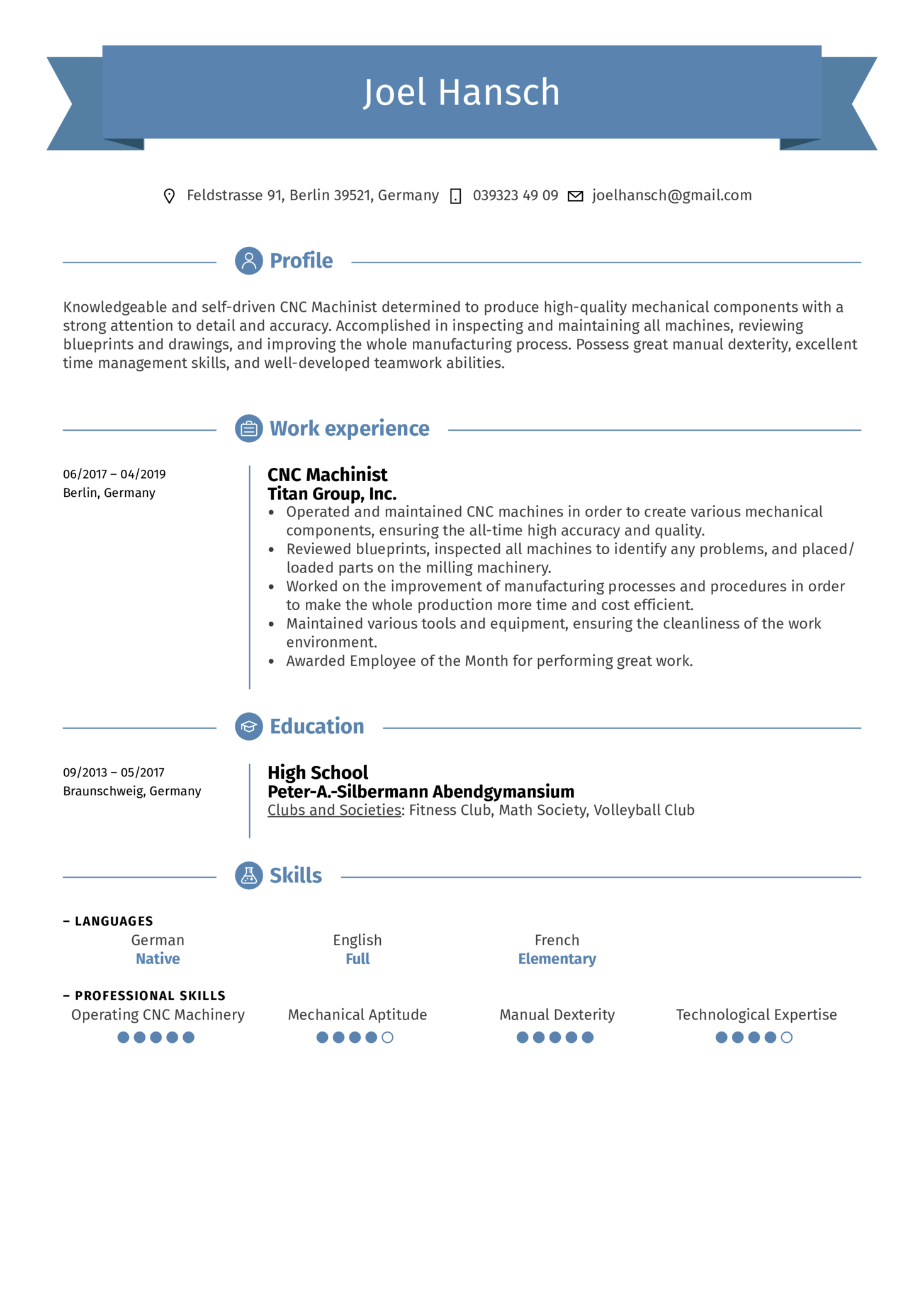 CNC Machinist Resume Sample (Teil 1)