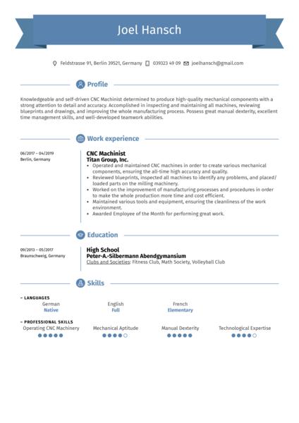 CNC Machinist Resume Sample