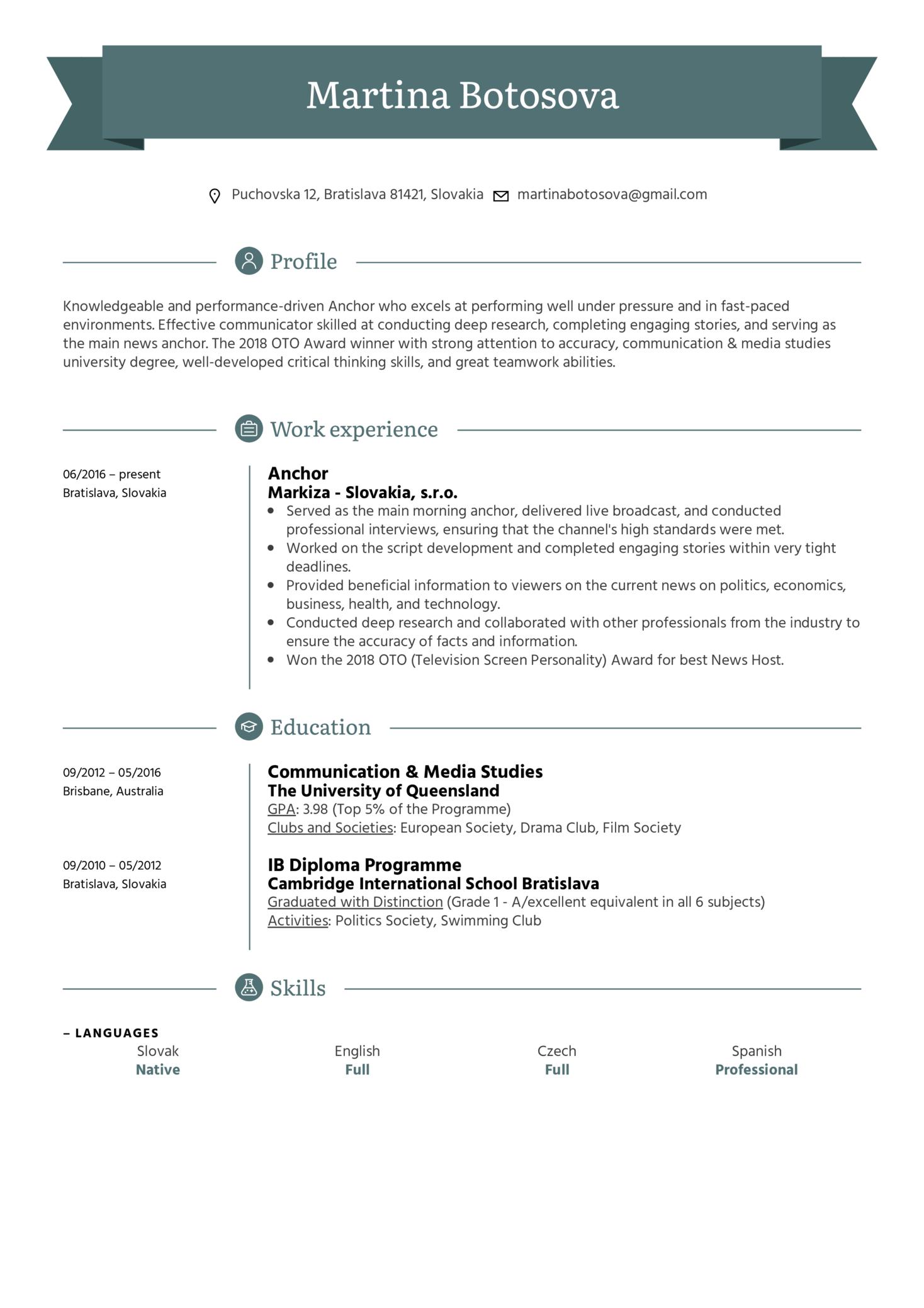 Anchor Resume Sample (Part 1)