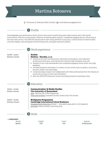 Anchor Resume Sample