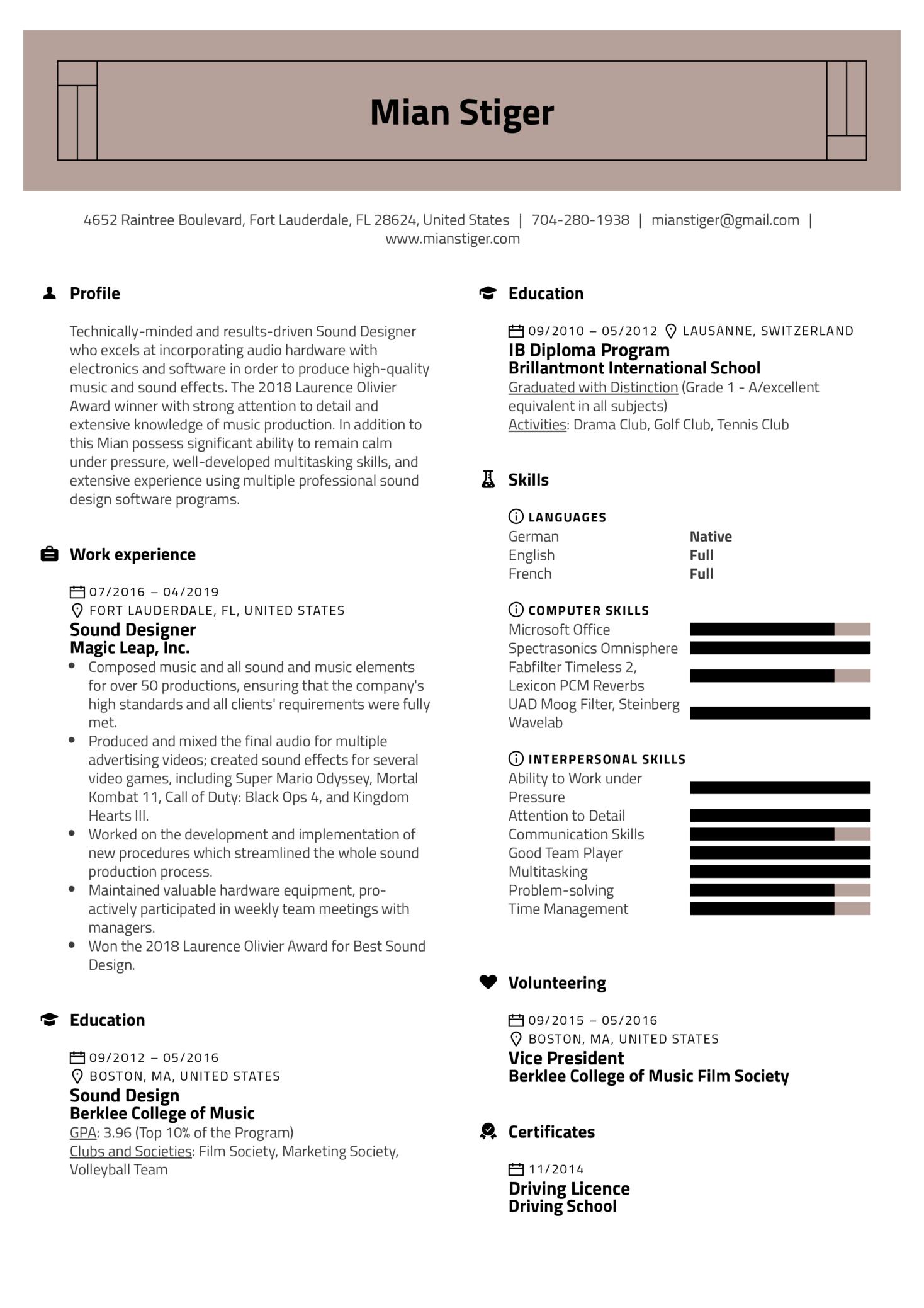 Sound Designer Resume Sample (Part 1)