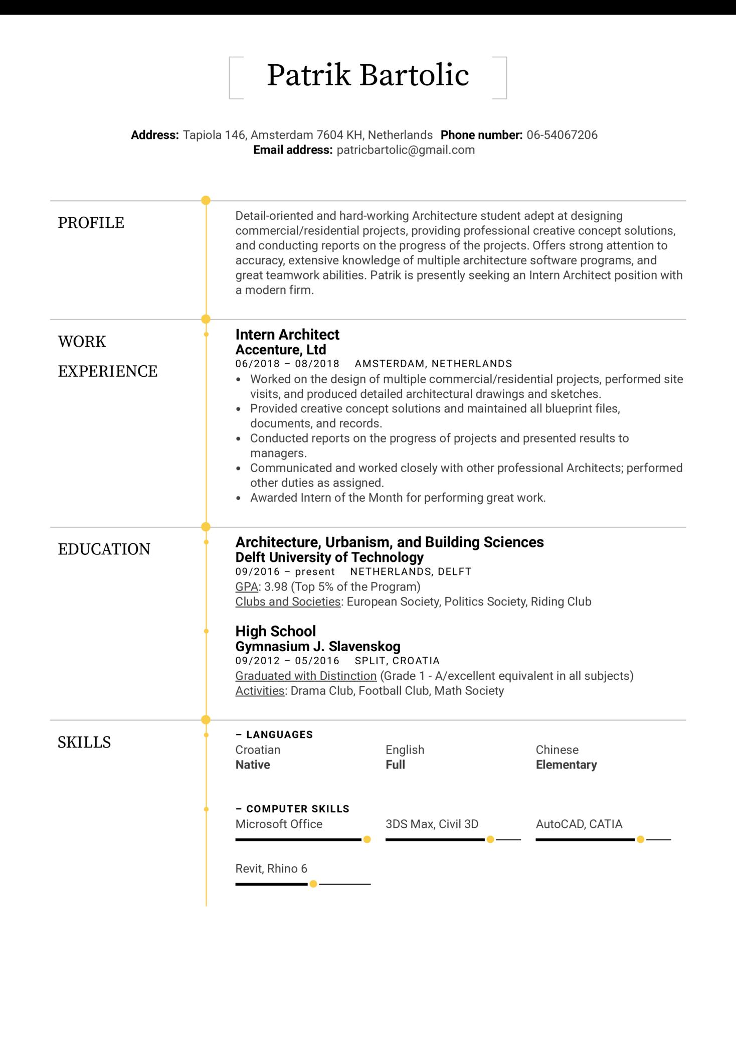 Intern Architect Resume Example (Teil 1)