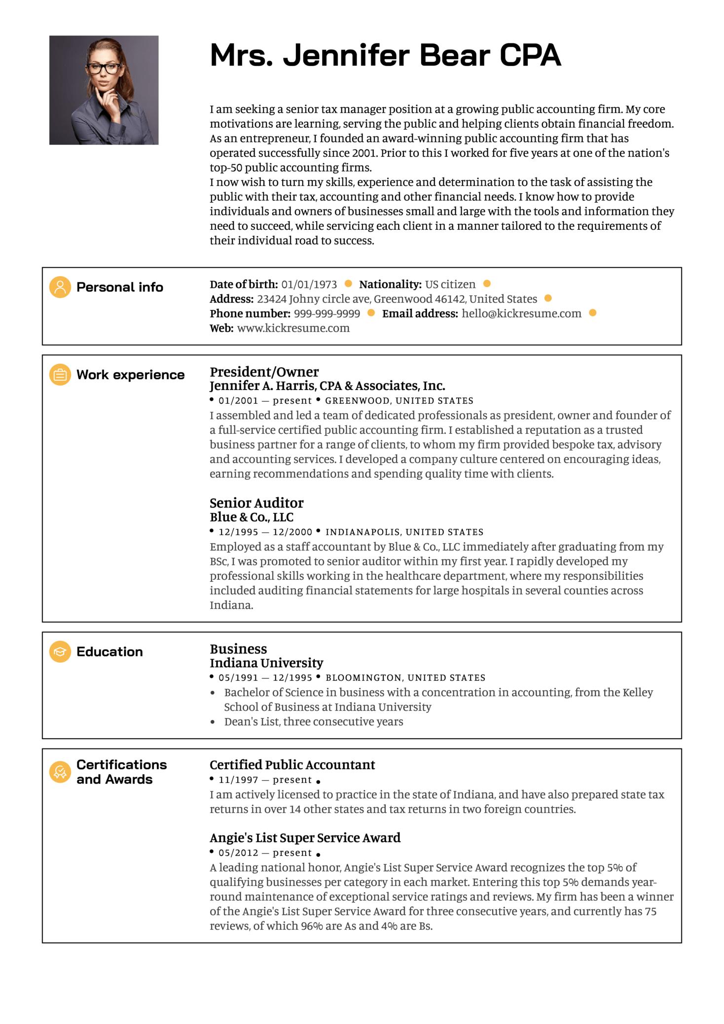 Senior Manager Resume Sample (Part 1)
