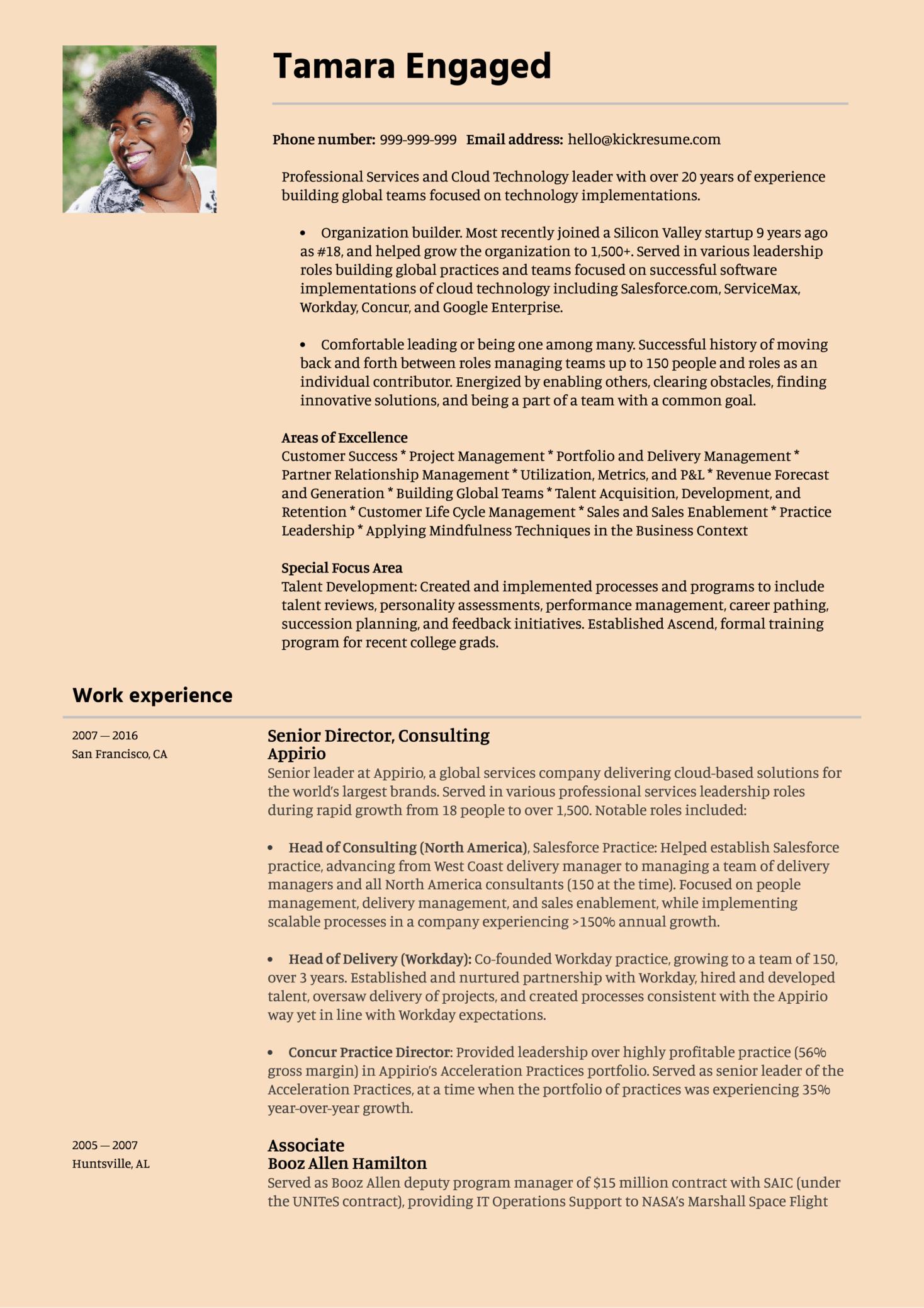 Senior Engagement Manager Resume Sample (parte 1)
