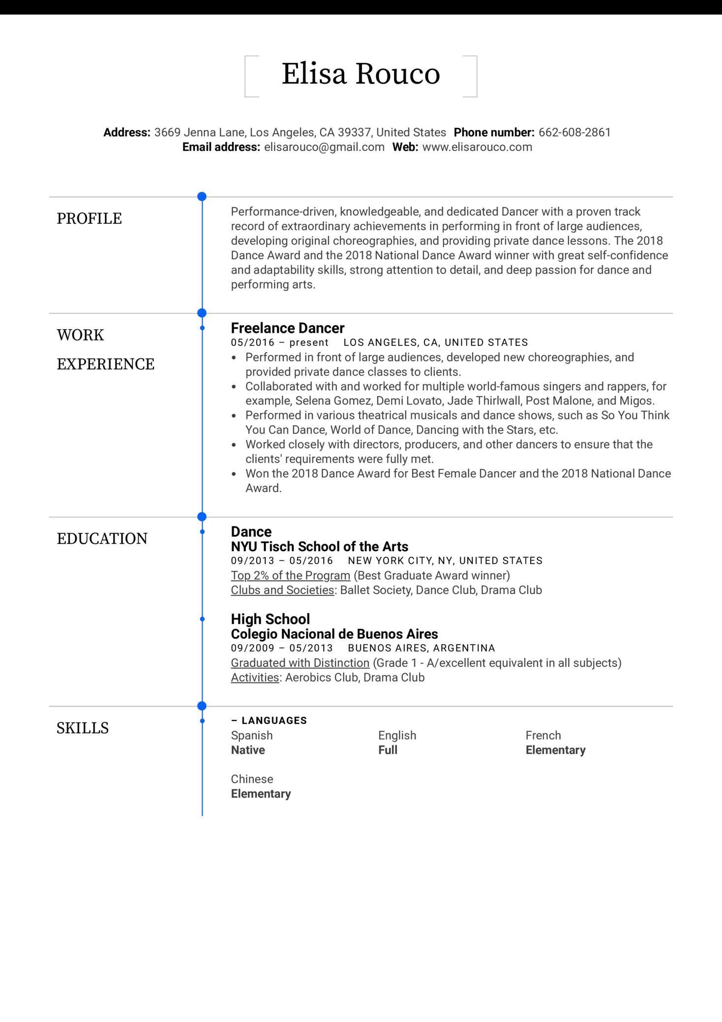 Dancer Resume Template (Part 1)