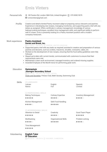 Pastry Assistant Resume Sample