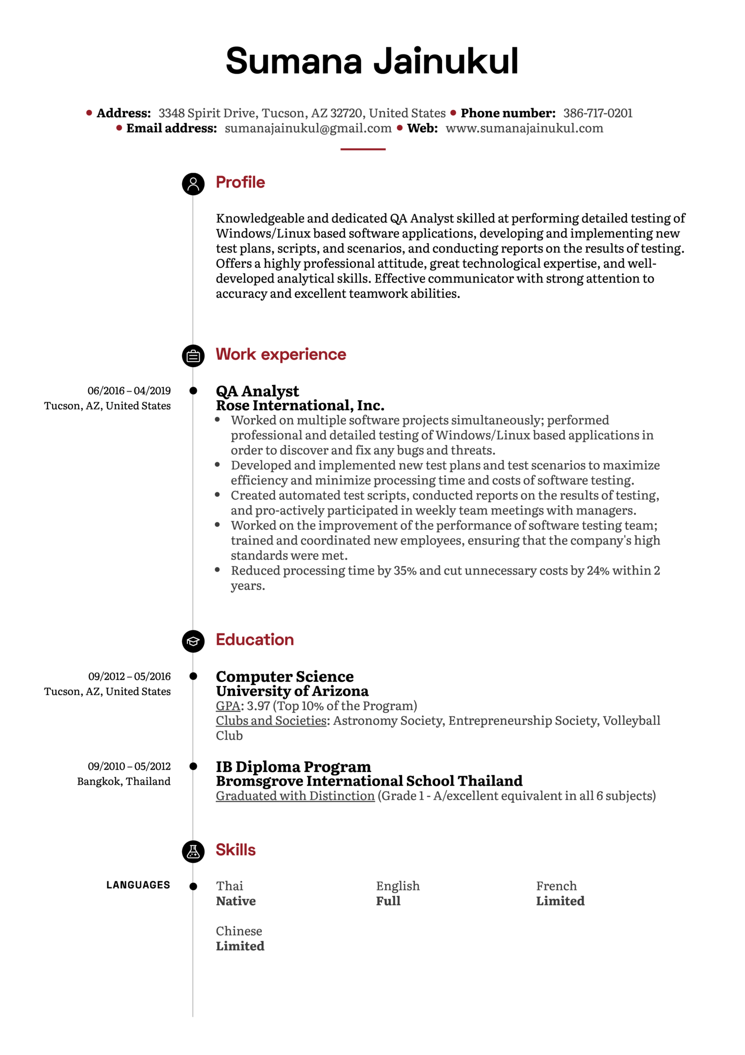 QA Analyst Resume Example (Part 1)