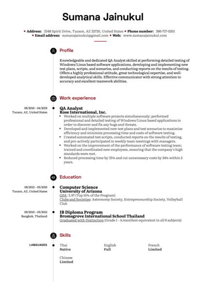 QA Analyst Resume Example